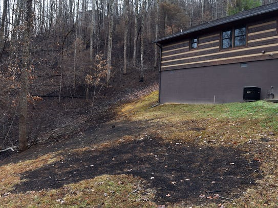 The Gatlinburg home of David Loveland, which was spared