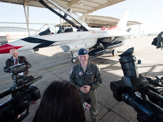 Captain Erik Gonsalves stands in front of the Thunderbirds