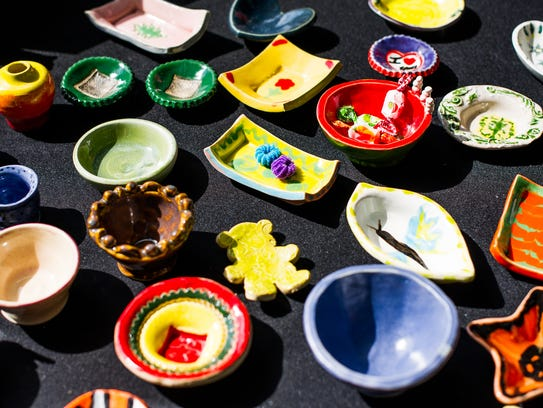 An assortment of bowls are seen during last year's annual Empty Bowls fundraising event.