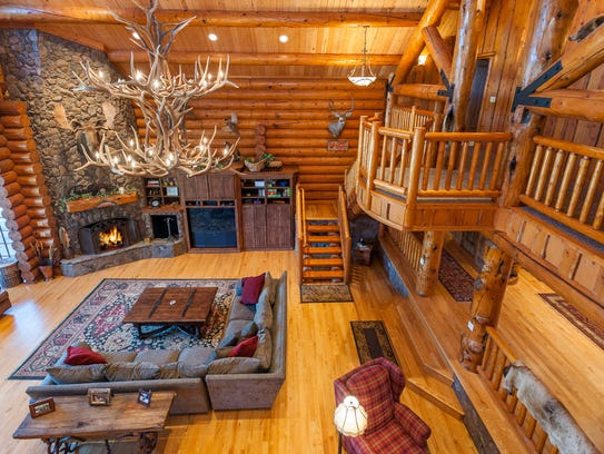 Crafted with Rocky Mountain logs, the custom home is