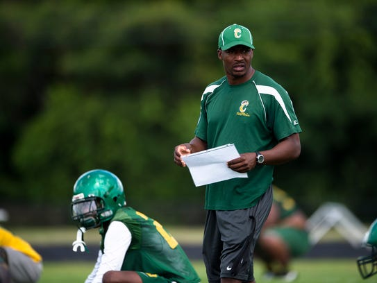 Carver coach Willie Spears coaches during practice