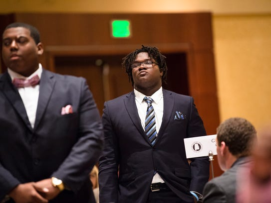 Sidney Lanier defensive lineman Alfred Thomas stands