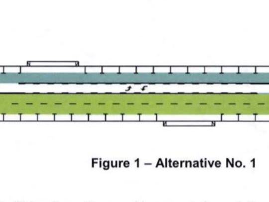 This graphic shows the design for Indian Canyon Drive, which is being converted into a two-way road between Camino Parocela and Alejo Road in Palm Springs. Final construction is expected to impact traffic through most of December 2019.
