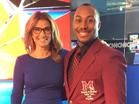 Seth Ward, president of the Student Government Association at the University of Maryland Eastern Shore, with Carol Costello, a news anchor at CNN. Costello interviewed Ward and other university student leaders about their concerns and the approaching presidential election.