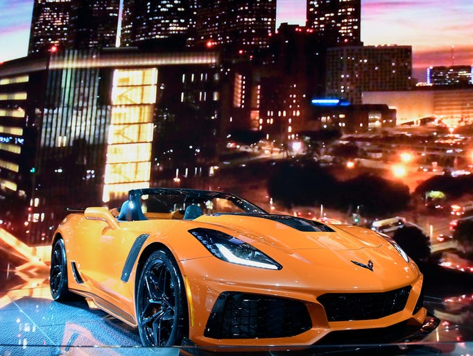 The Chevrolet Corvette ZR1 is on display at the show.