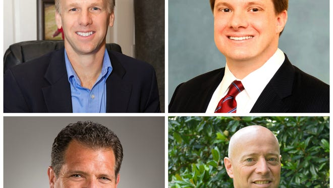 Hendersonville 2016 mayoral candidates, clockwise from top left, Jamie Clary, Jeff Coker, David Kimbrough and Tommy Elsten