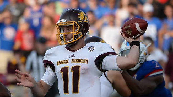 Central Michigan quarterback Shane Morris passed for 467 yards and five TDs in the 45-27 win over Kansas on Sept. 9, 2017 in Lawrence, Kansas.