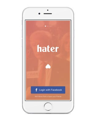 Hater app on iPhone