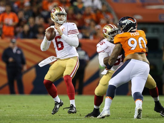 Jeff Driskel (6) played for the 49ers this preseason but now is a member of the Bengals.