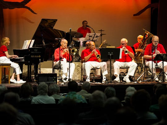 Members of The Naples Jazzmasters perform Dixieland