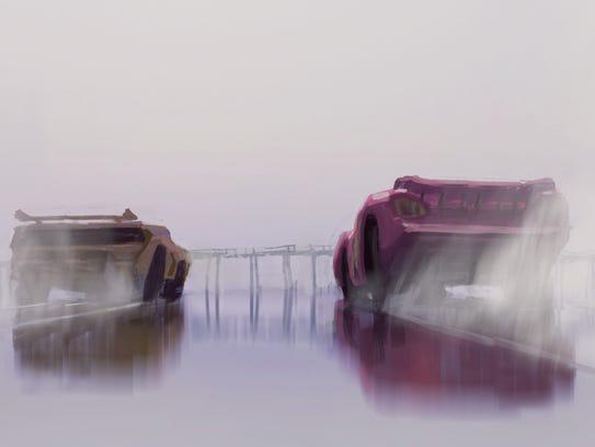 A reveal of 'Cars 3' concept art featuring Cruz Ramirez