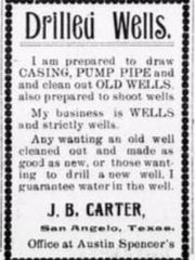 J.B. Carter of San Angelo advertises his business for