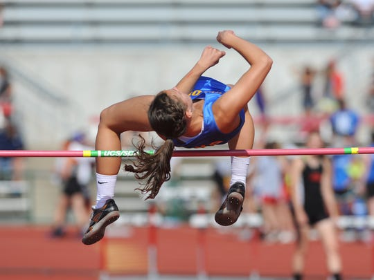 Clyde's Paula Wollenslegel earned three straight state championships in the high jump.