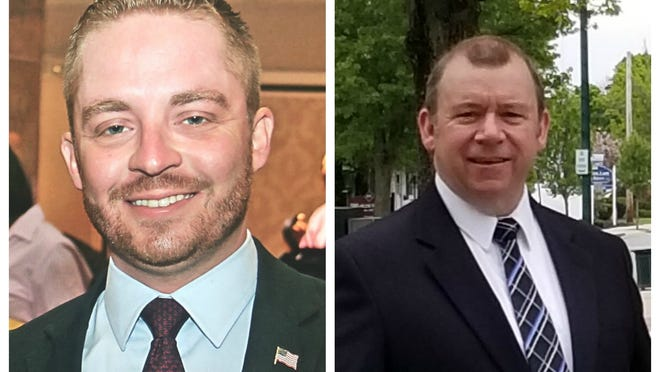 Incumbent state Rep. Mark Cusack, left and challenger Paul Hennessy of Braintree, right.