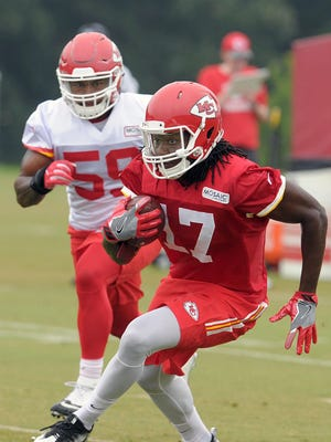 Chiefs wide receiver Chris Conley gains yards during practice at training camp in St. Joseph. Conley was listed ahead of Rod Streater at one wide receiver spot, both of them trailing Albert Wilson.