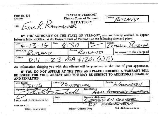Citation issued to Eric Rademacher