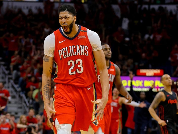 New Orleans Pelicans forward Anthony Davis (23) celebrates
