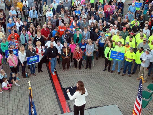 Alison Lundergan Grimes, Kentucky's Democratic candidate for U.S. Senate, addressed supporters at a rally Wednesday in Newport.