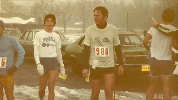 Steve Luther (left) with his father, Ray, after a Freezeroo