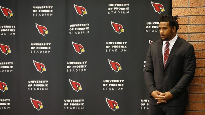 The Arizona Cardinals introduced their first-round draft pick, Robert Nkemdiche, a defensive tackle from Ole Miss at the Cardinals Training Facility in Tempe, Ariz., on Friday, April 29, 2016.