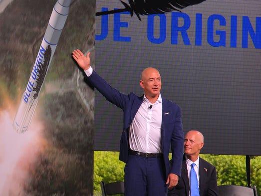 Amazon.com CEO Jeff Bezos announces Blue Origin's commitment