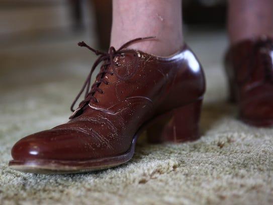 Detail shot of Evelyn Stevenson's vintage shoes photographed