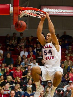 Dixie State's Marcus Bradley dunks the ball against BYU-Hawaii. The senior made the most of his opportunity this year after Josh Fuller went down with a season-ending injury.