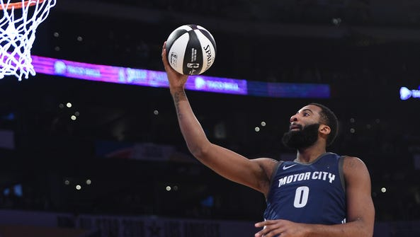 Andre Drummond #0 of the Detroit Pistons competes in