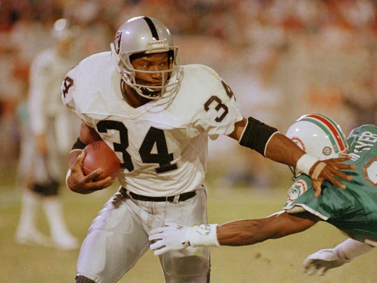 Bo Jackson averaged 5.4 yards a carry in his four part-time NFL seasons with the Los Angeles Raiders.