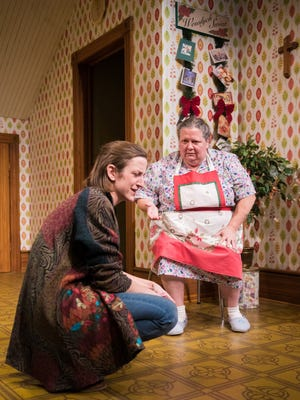 """Kat Wodtke (left) and Raeleen McMillion have a challenging conversation in """"Miracle on South Division Street."""""""