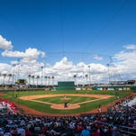 Goodyear Ballpark, home to the Cleveland Indians and the Cincinnati Reds for spring training baseball games, awaits a 2015 spring training game.