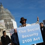 Maya Rockeymoore, president of the Center for Global Policy Solutions, speaks as House Democrats announce the introduction of Social Security 2100 Act in March in Washington, D.C.