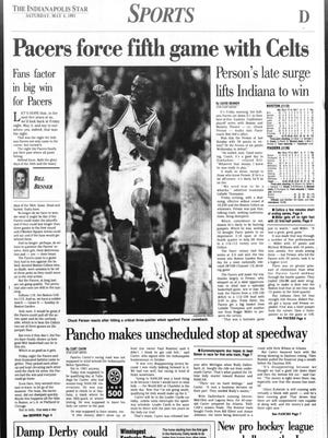 The Indianapolis Star's sports page the day after the Pacers rallied in the fourth quarter to beat the Celtics in Game 4.