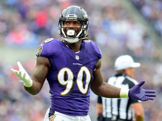 Oct 15, 2017; Baltimore, MD, USA; Baltimore Ravens linebacker Za'Darius Smith (90) reacts during the game against the Chicago Bears at M&T Bank Stadium. Mandatory Credit: Evan Habeeb-USA TODAY Sports