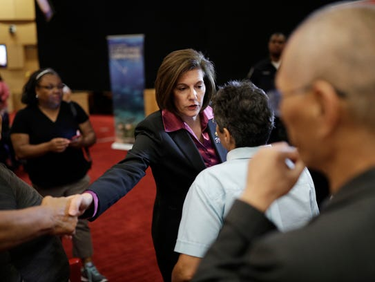 Nevada Sen. Catherine Cortez Masto meets with people