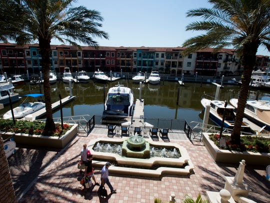 The marina at The Naples Bay Resort & Marina  adjacent