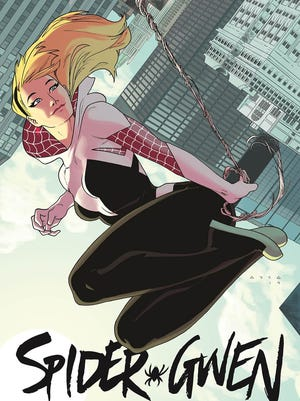 """Gwen Stacy swings into the Marvel Universe as the superpowered Spider-Woman of """"Spider-Gwen."""""""