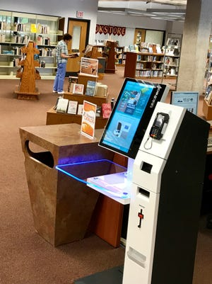 Checkout machine at the Mead Public Library.