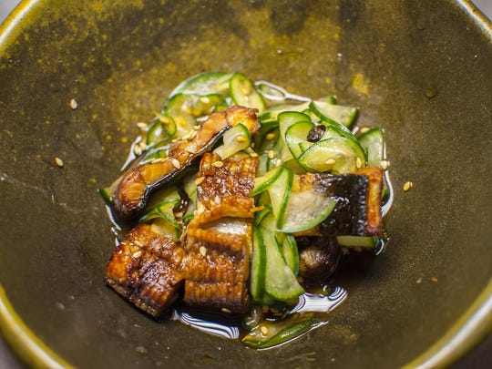 Uzaku, freshwater eel with cucumbers and sweet vinegar, during a chef's night out with Abbie Sweeney of Waterworks in Winooski at San Sai in Burlington.