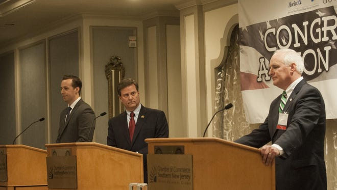 Congressional candidates (from left) Alex Law, Donald Norcross and Bob Patterson addressed the Chamber of Commerce of Southern New Jersey on May 31.