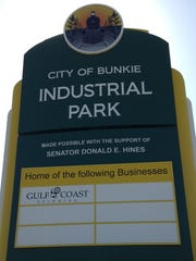 A sign at the Bunkie Industrial Park shows it as the home of Gulf Coast Spinning Company, just days after the company surprised local stakeholders by pulling out of the project.
