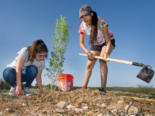 Rosie Marquez, L and  Aislinn Reyes put the finishing touches on a newly planted shrub around the La Mancha Wetlands Saturday morning. 4/15/17