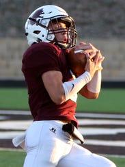 Vernon's Brysan Garrard intercepts Dalhart Friday,