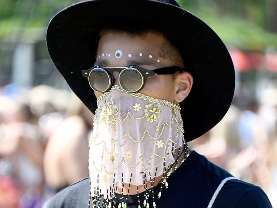 A music fan at the 2015 Coachella Valley Music And Arts Festival at The Empire Polo Club on April 18, 2015 in Indio.