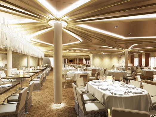 Royal Caribbean is reinventing the traditional, common main dining room as five complimentary, full-service restaurants.  Chic, seen here, features contemporary cuisine made from the freshest ingredients.