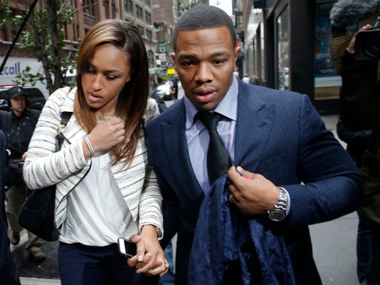 File photo of former Baltimore Ravens NFL running back Rice and his wife Janay arriving for a hearing at a New York City office building