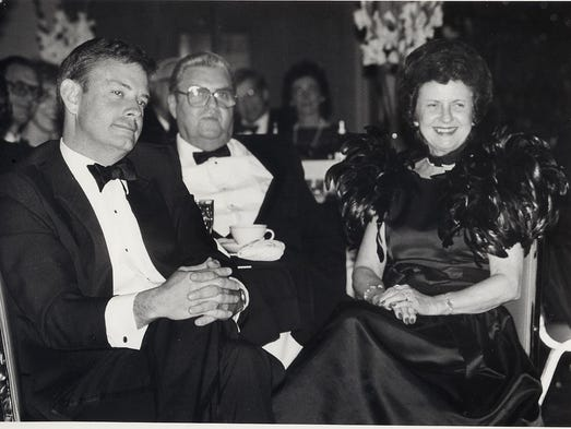 Drury President John Moore , left, with John Q. and Juanita Hammons. News-Leader file photo.