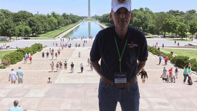 Michael Davis visits the Lincoln Memorial in Washington, D.C. during the May 2017 Honor Flight of the Ozarks.