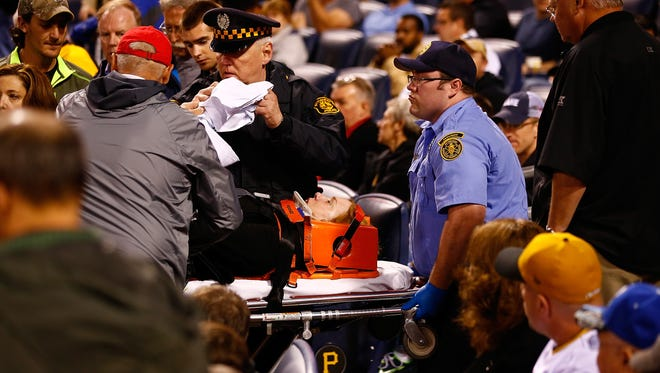 A fan was injured during the game at PNC Park on April 20, 2015 in Pittsburgh, Pennsylvania.