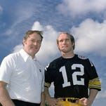 Pittsburgh Steelers head coach Chuck Noll, left, and quarterback Terry Bradshaw. Noll, the Hall of Fame coach who won a record four Super Bowl titles with the Pittsburgh Steelers, died Friday at his home. He was 82. The Allegheny County Medical Examiner said Noll died of natural causes.